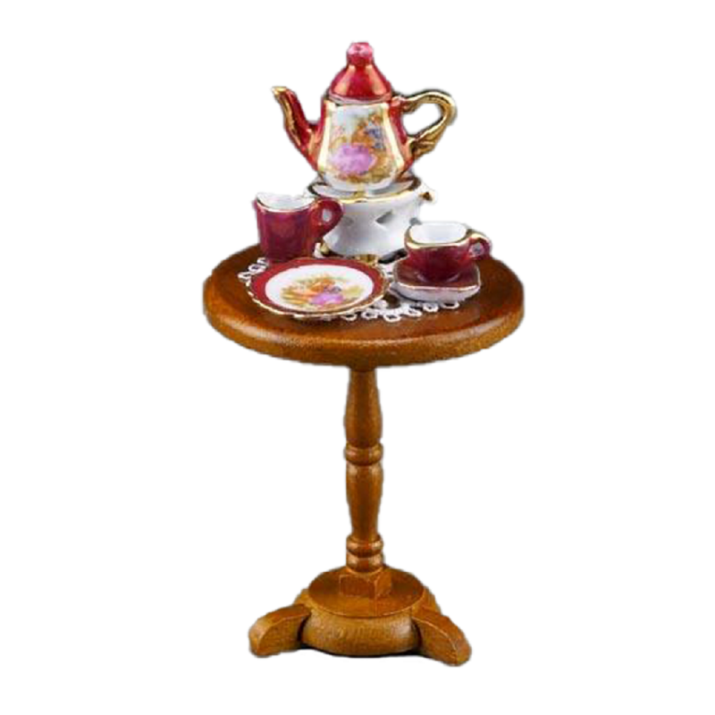 Dolls House Lustre Red Tea Service Round Side Table Miniature Reutter Furniture