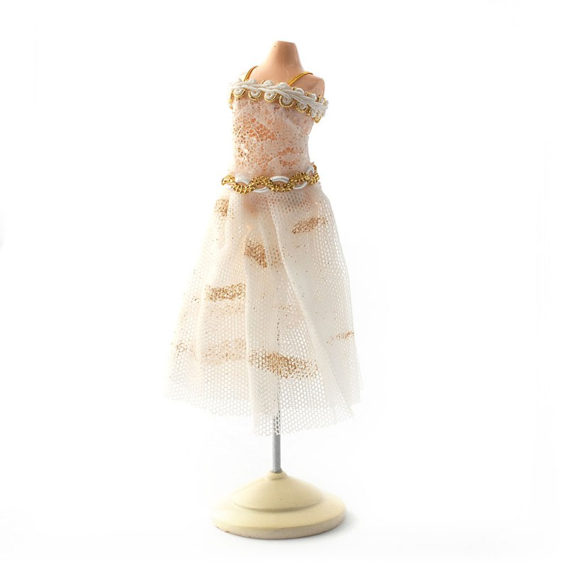 Dolls House Decorated Dress on Stand Mannequin Miniature Reutter Shop Accessory