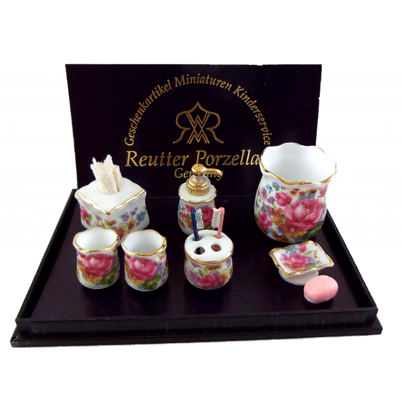 Dolls House Dresden Rose Bathroom Accessory Set Reutter Porcelain Miniature