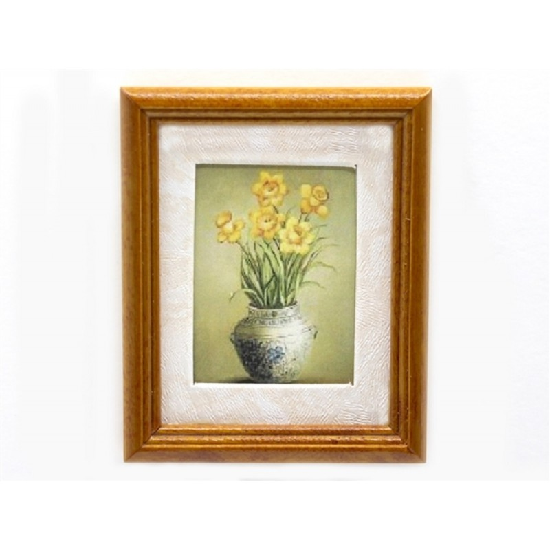 Dolls House Daffodils in Vase Picture Painting Walnut Frame Miniature Accessory