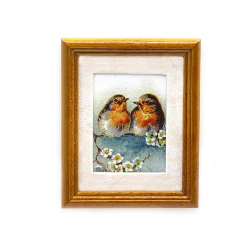 Dolls House Robins Picture Painting in Walnut Frame Miniature Bird Accessory