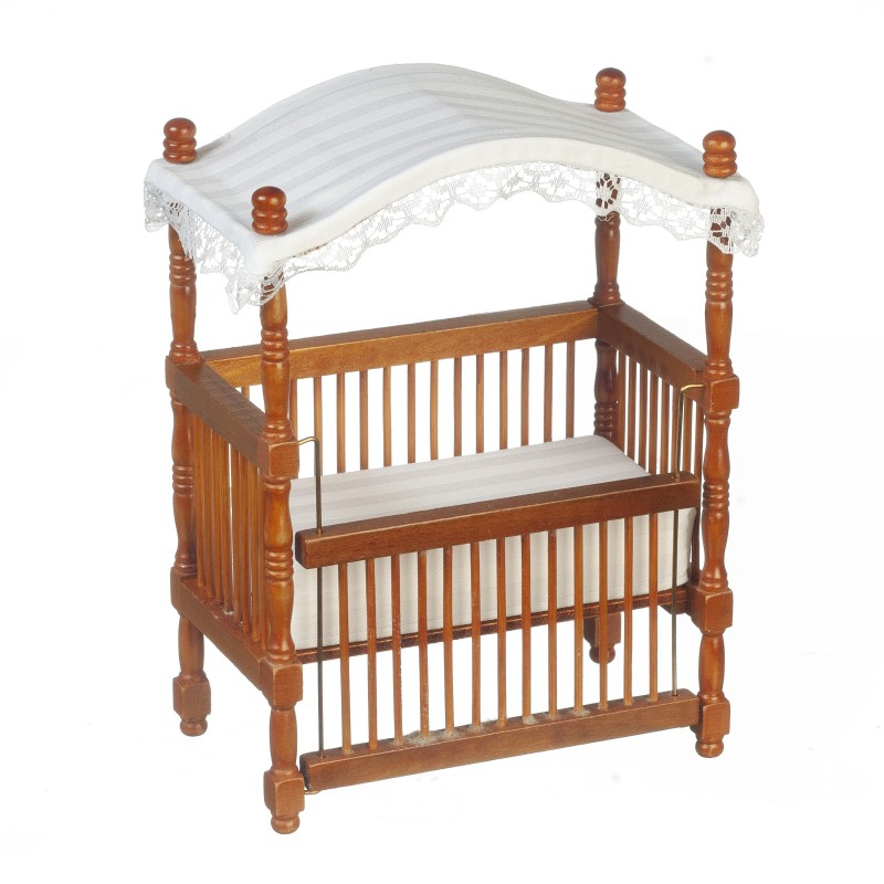 Dolls House Walnut Wood Canopy Cot Crib Miniature 1:12 Nursery Baby Furniture