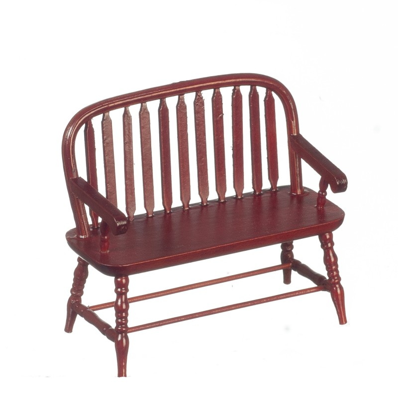 Dolls House Mahogany Wood Colonial Windsor Bench Miniature 1:12 Scale Furniture