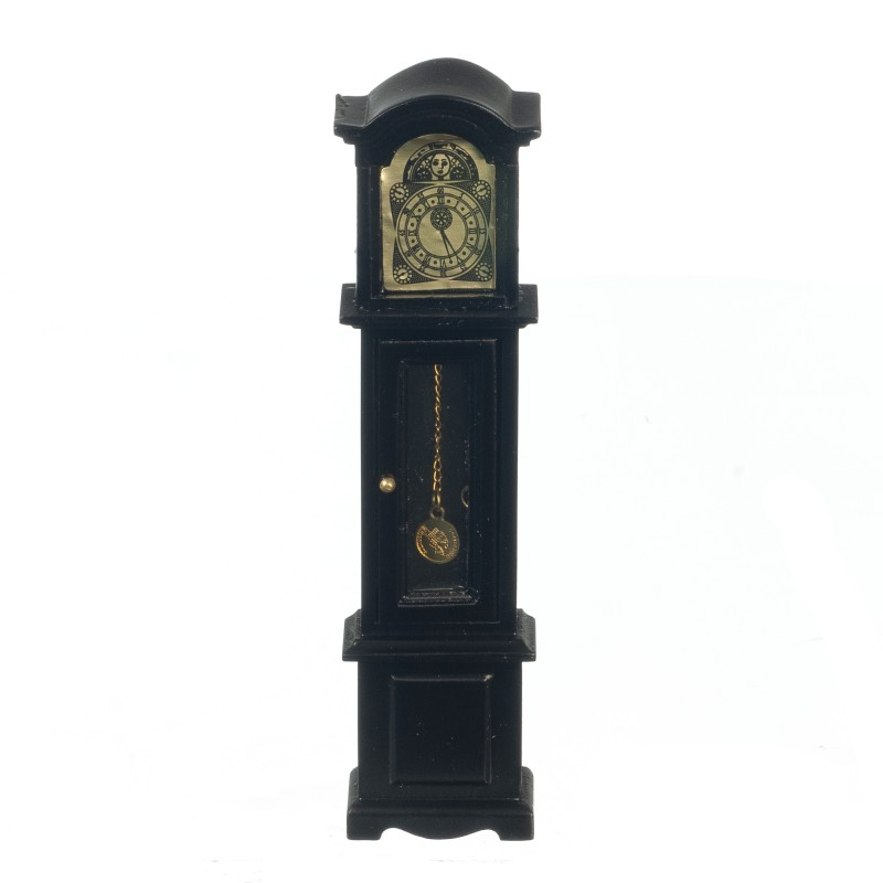 Dolls House Black Grandfather Clock Miniature Wooden Hall Furniture 1:12 Scale