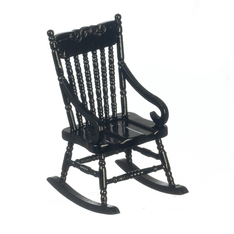 Dolls House Black Wooden Rocking Chair Rocker Miniature 1:12 Scale Furniture