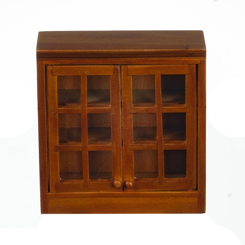 Dolls House Walnut Double Wall Cabinet Display Unit 1:12 Kitchen Furniture