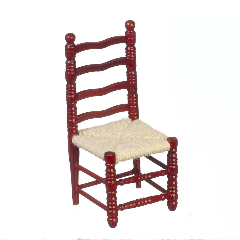 Dolls House Mahogany Ladderback Side Chair Miniature Kitchen Dining Furniture