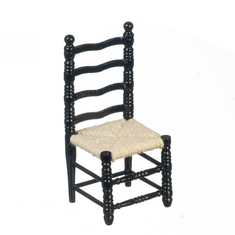 Dolls House Black Ladderback Side Chair Miniature Kitchen Dining Room Furniture
