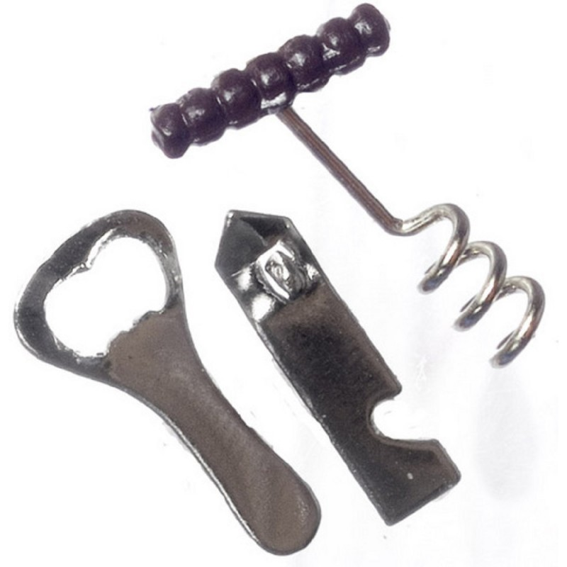 Dolls House Bar Tools Can Bottle Openers Set Miniature 1:12 Scale Pub Accessory