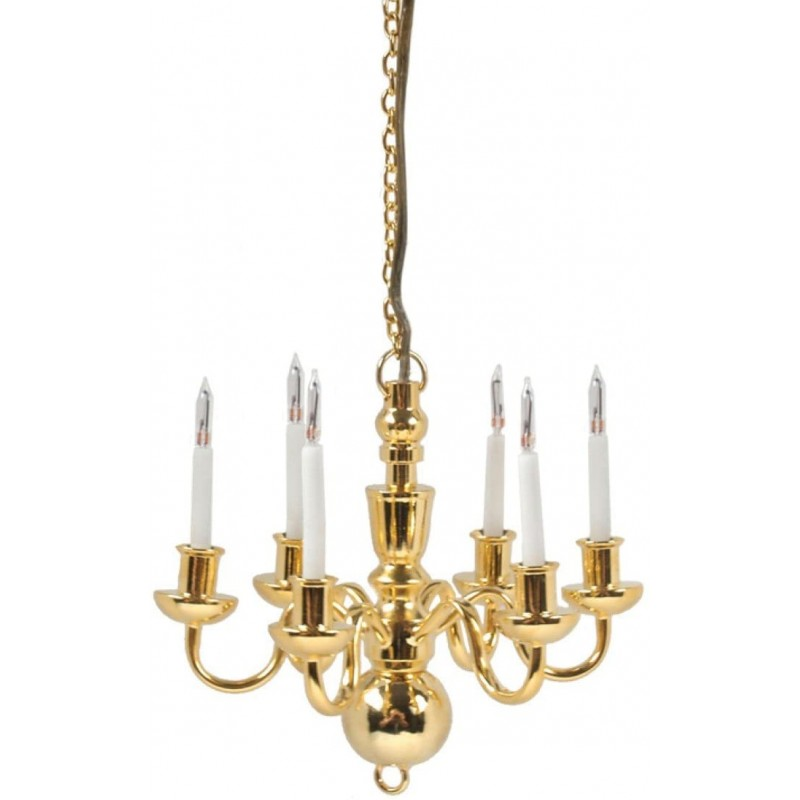 Dolls House Gold 6 Arm Candle Chandelier Brass 12V Electric Ceiling Light
