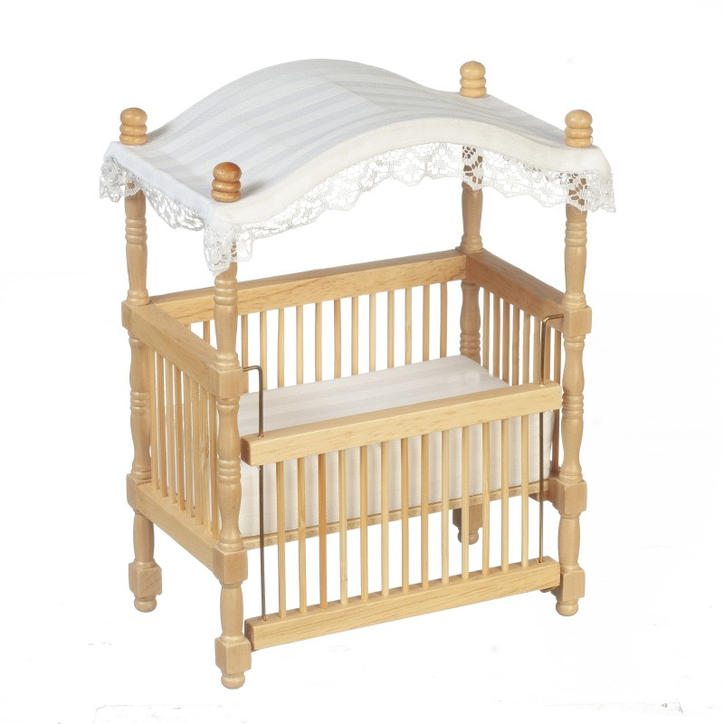 Dolls House Oak Wooden Cot Crib With Canopy Miniature Nursery Baby Furniture