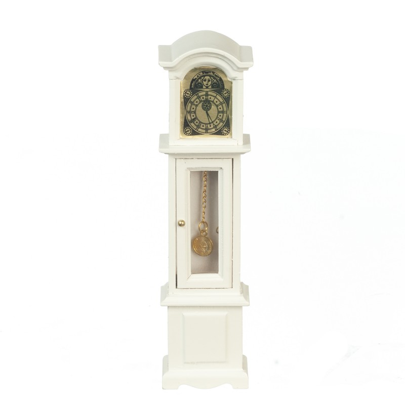 Dolls House White Grandfather Clock Miniature Wooden Hall Furniture 1:12 Scale