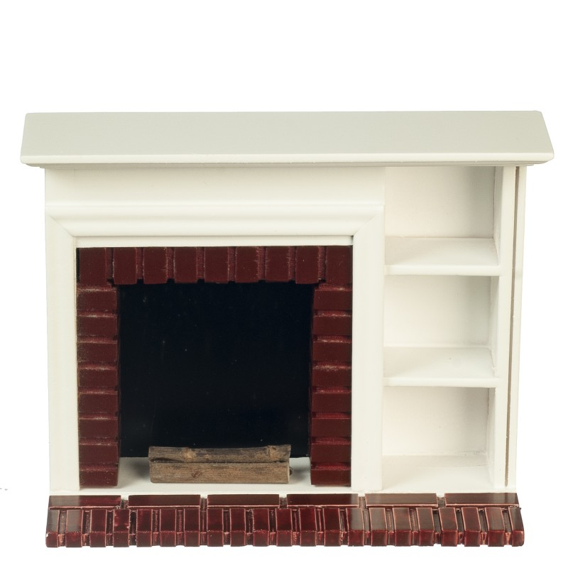 Dolls House White Red Brick Fireplace with Display Shelves Miniature Furniture