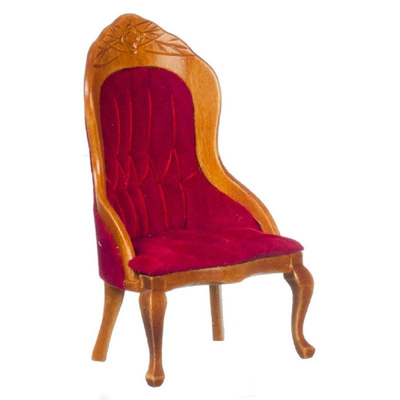 Dolls House Walnut & Red Ladies Chair Armchair Victorian Living Room Furniture