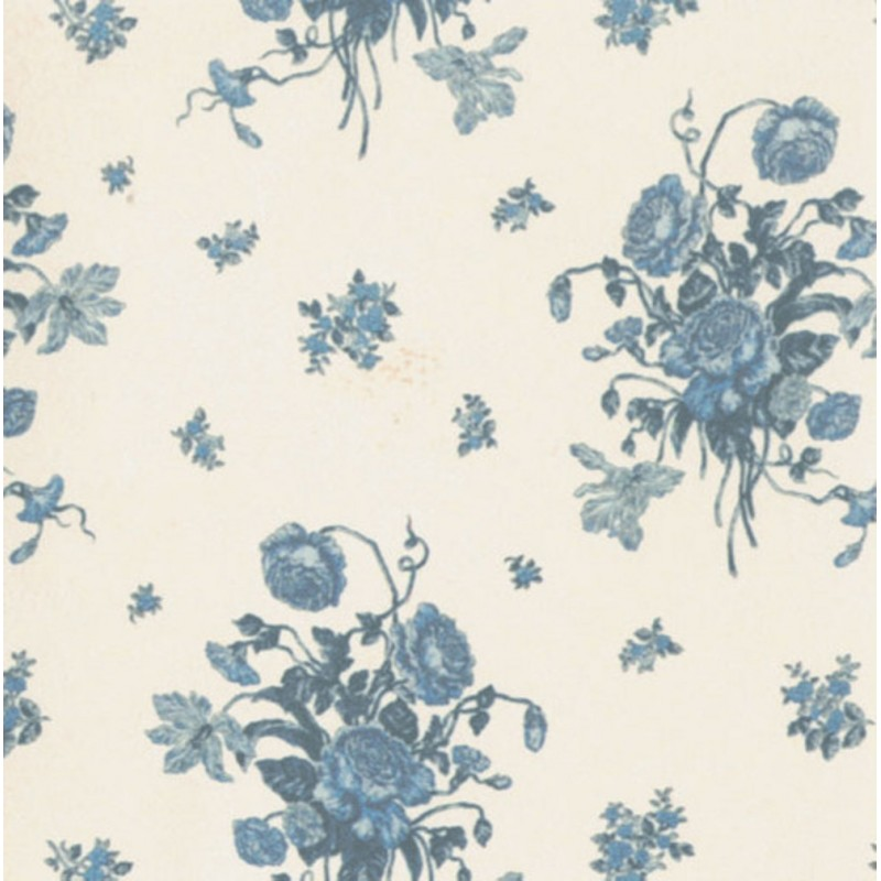Dolls House Cream and Blue Rio Dante Miniature Print 1:12 Wallpaper 3 Sheets