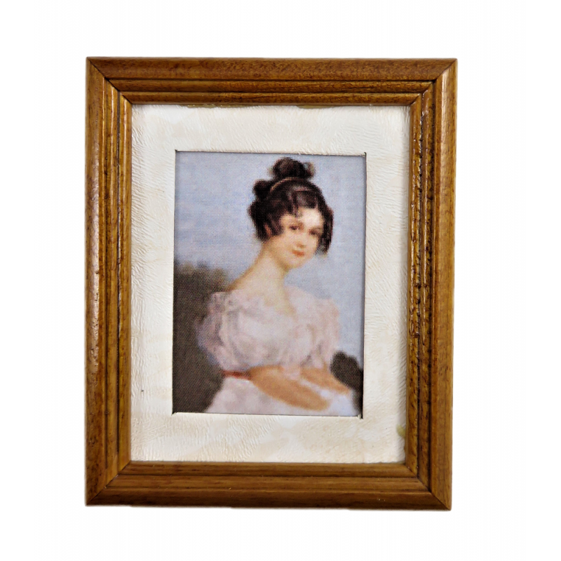 Dolls House Edwardian Lady Picture Painting Walnut Frame Miniature Accessory