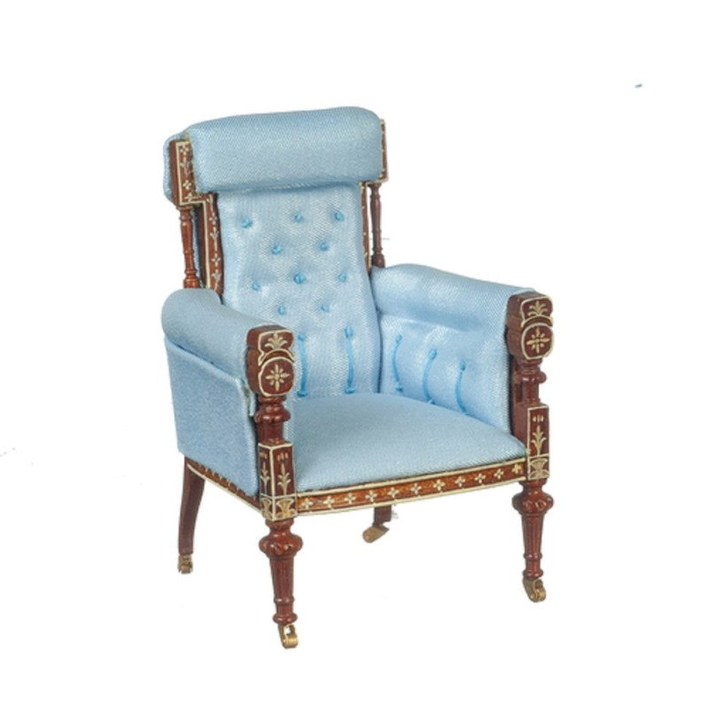 Dolls House French Blue and Walnut Armchair JBM Miniature Living Room Furniture