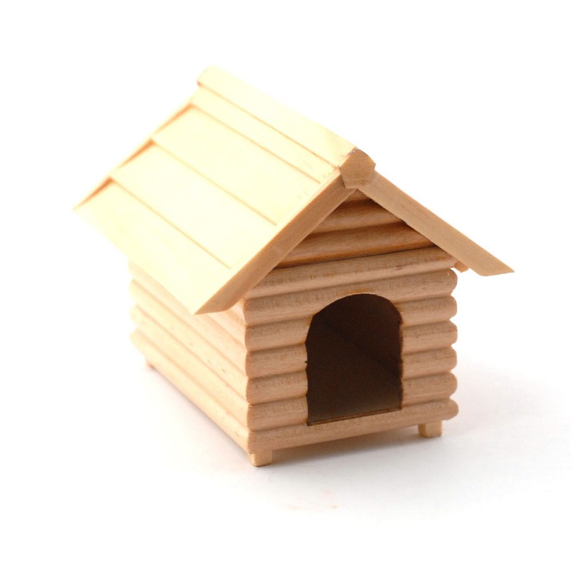 Dolls House Large Pine Dog Kennel Miniature Pet Garden Accessory 1:12 Scale