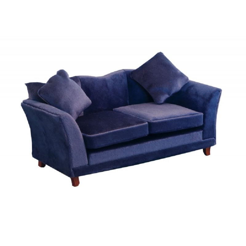 Dolls House Modern Royal Blue Sofa Contemporary Miniature Living Room Furniture