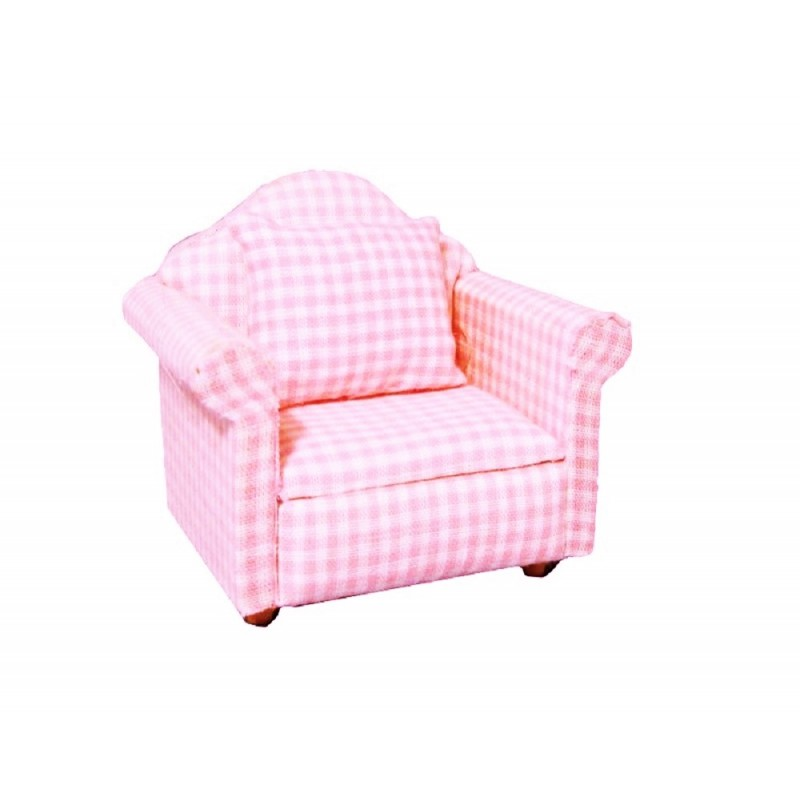 Dolls House Baby Pink Gingham Armchair Miniature Modern Living Room Furniture