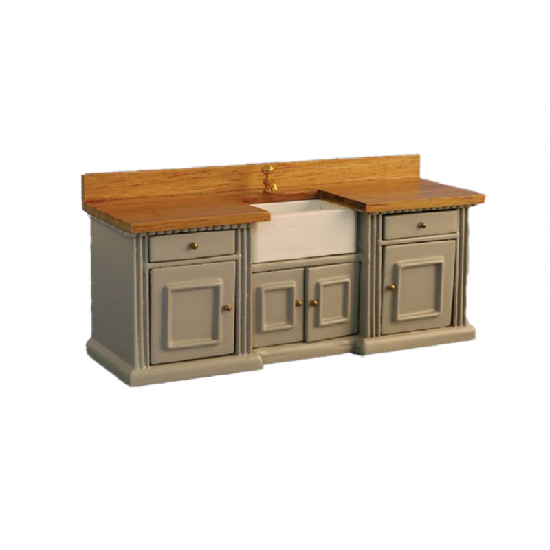 Dolls House Grey & Pine Smallbone Sink Unit with Belfast Sink Kitchen Furniture