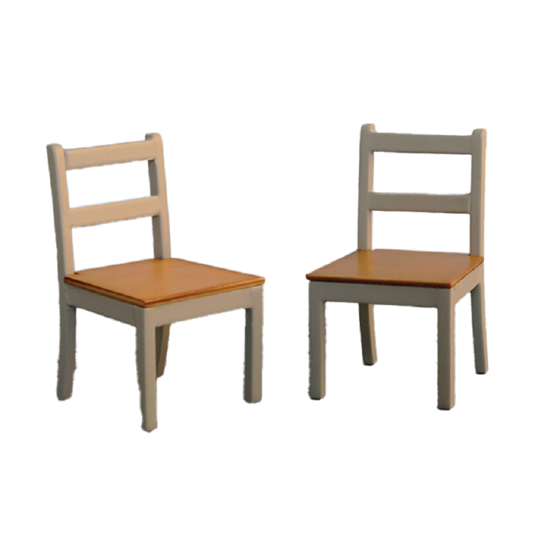 Dolls House 2 Grey & Pine Dining Chairs Modern Miniature Kitchen Furniture