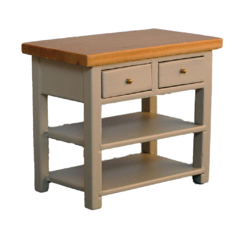 Dolls House Grey & Pine Island Work Table Modern Miniature Kitchen Furniture