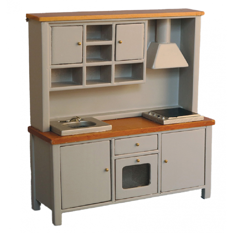 Dolls House Grey & Pine Complete Modern Kitchen Unit with Sink Oven & Hob