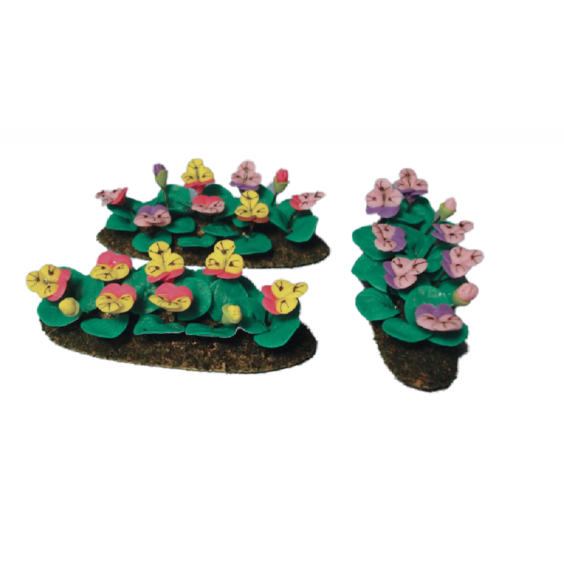 Dolls House Mixed Pansies Flowers in Ground Grass Miniature Garden Accessory