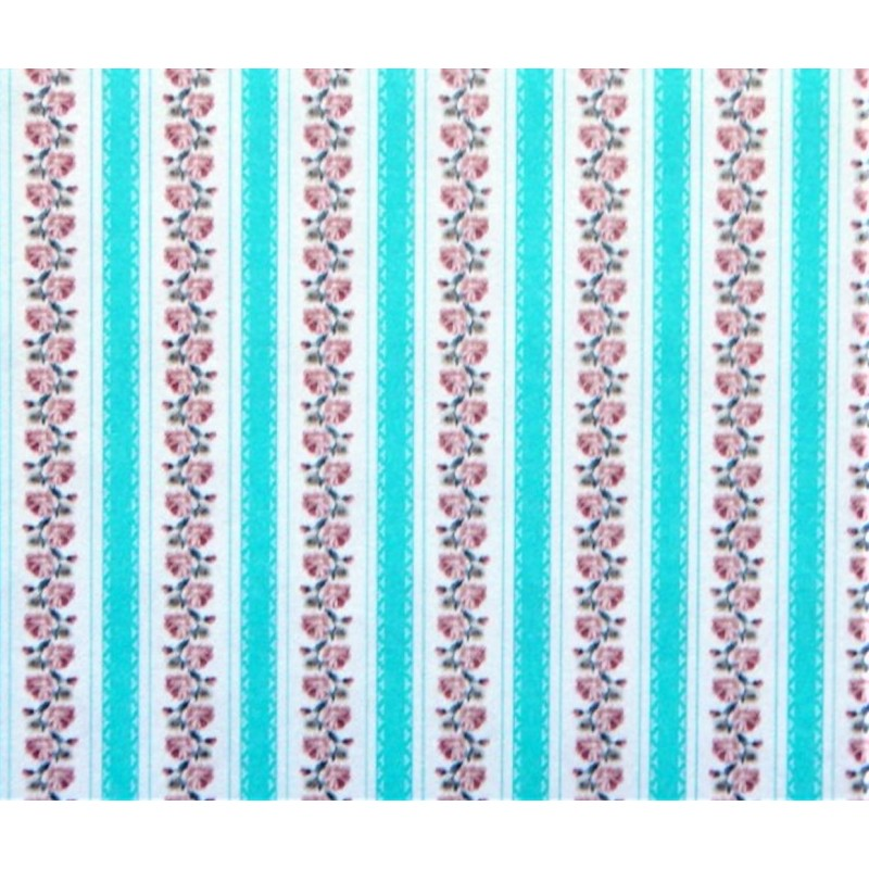 Dolls House Turquoise Climbing Rose Striped Miniature Print Wallpaper 1:12 Scale