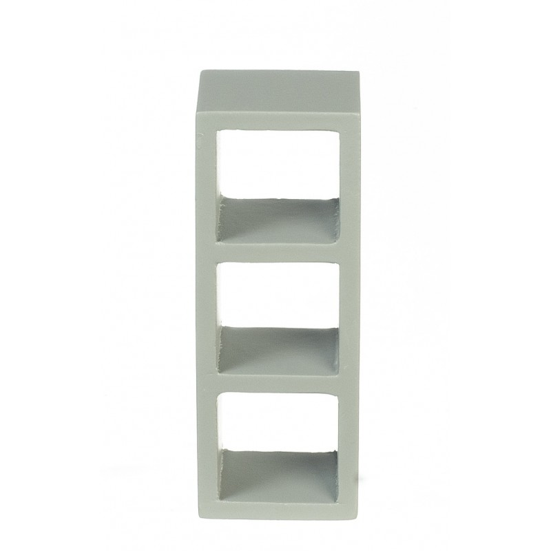 Dolls House 3 Cube Display Unit Modern Grey Shelves Bookcase Miniature Furniture