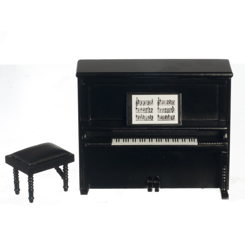 Dolls House Black Upright Piano and Bench Miniature Music Room Furniture