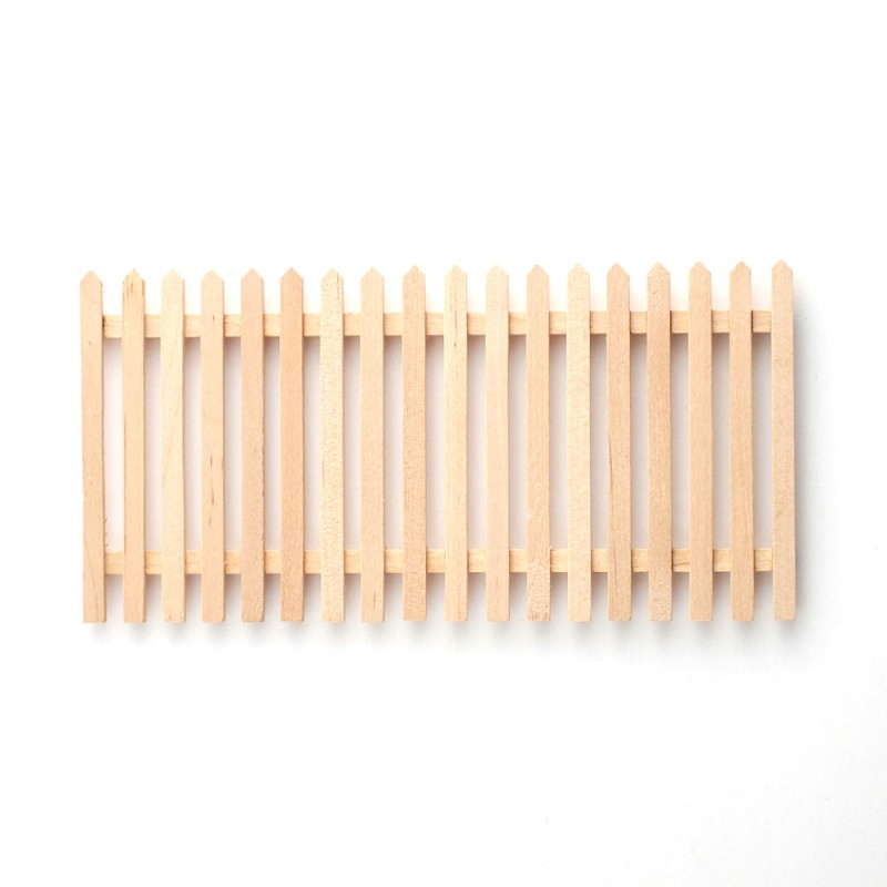 Dolls House Unfinished Bare Wood Picket Fence Panel Miniature Garden Accessory