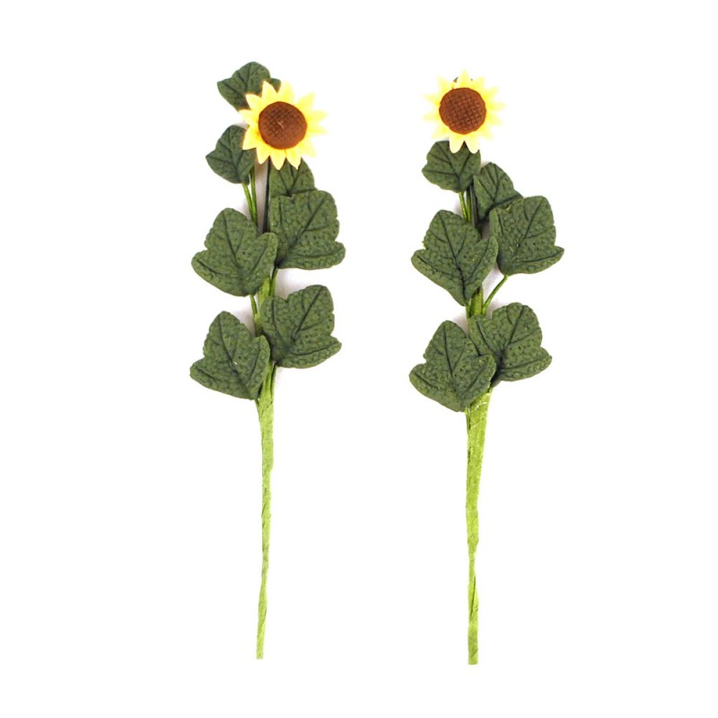 Dolls House 2 Large Sunflower Flowers on Stem Miniature Garden or Vase Accessory