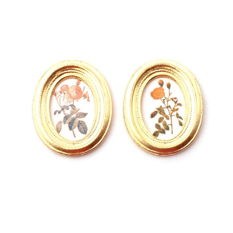 Dolls House 2 Flower Pictures Paintings in Oval Gold Frames Miniature Accessory