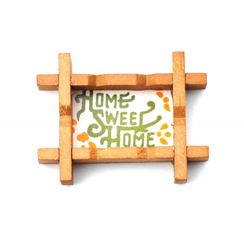 Dolls House Home Sweet Home Picture in Rustic Wooden Frame Miniature Accessory