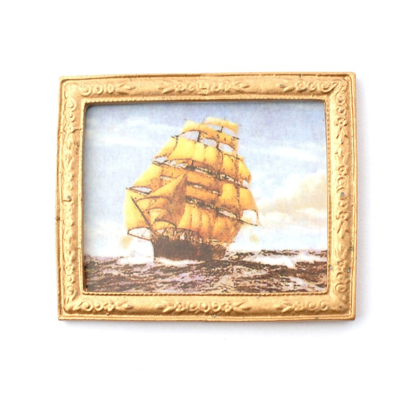 Dolls House Spanish Galleon Ship Picture in Gold Frame 1:12 Miniature Accessory