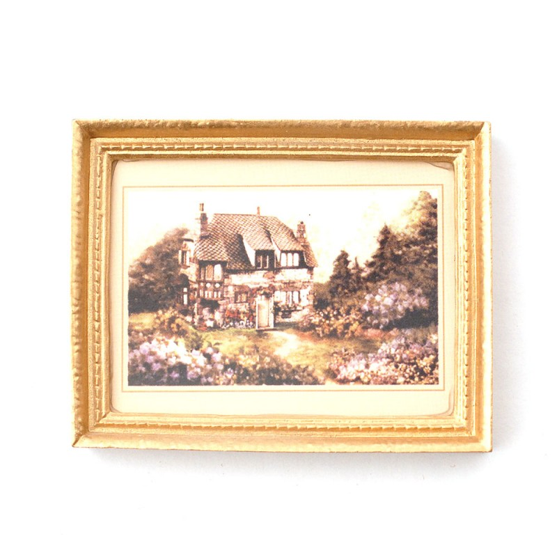 Dolls House Country House Picture in Gold Frame 1:12 Miniature Accessory