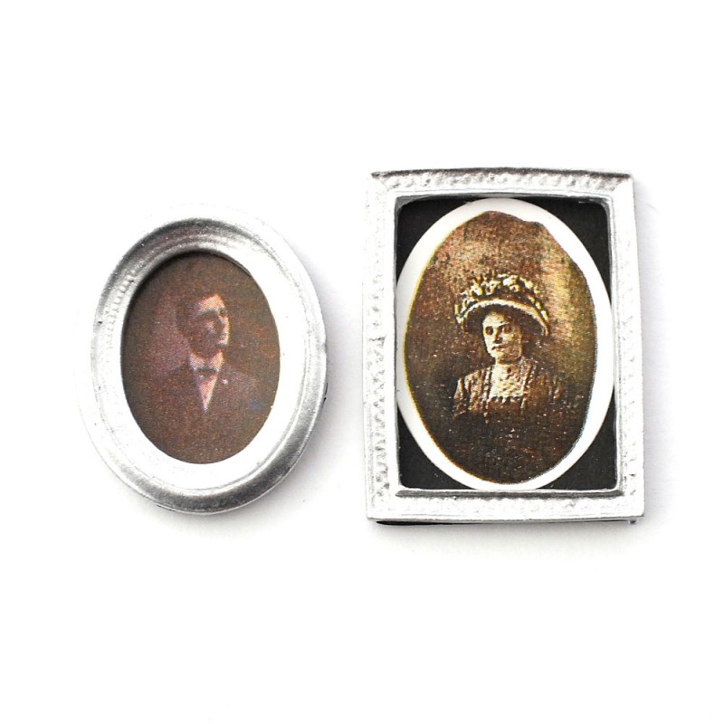 Dolls House 2 Victorian Portrait Pictures Paintings in Miniature Silver Frames