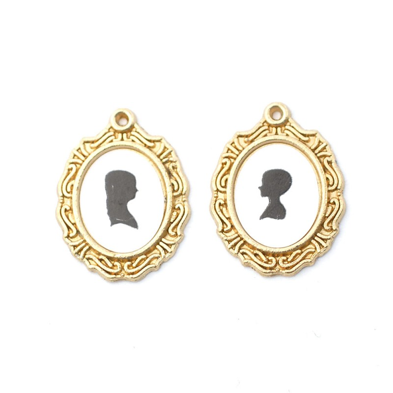 Dolls House 2 Silhouette Pictures Paintings in Miniature Gold Oval Frames 1:12