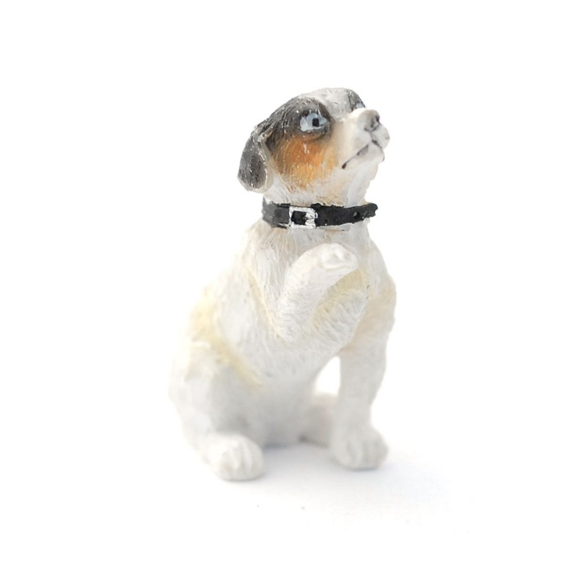 Dolls House Jack Russel Pet Dog Begging with Paw Miniature 1:12 Accessory