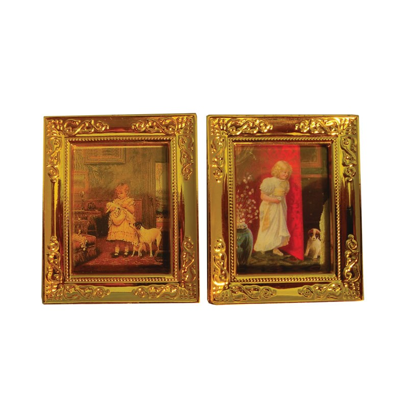Dolls House 2 Child and Pet Pictures in Shiny Gold Frames Miniature Accessory