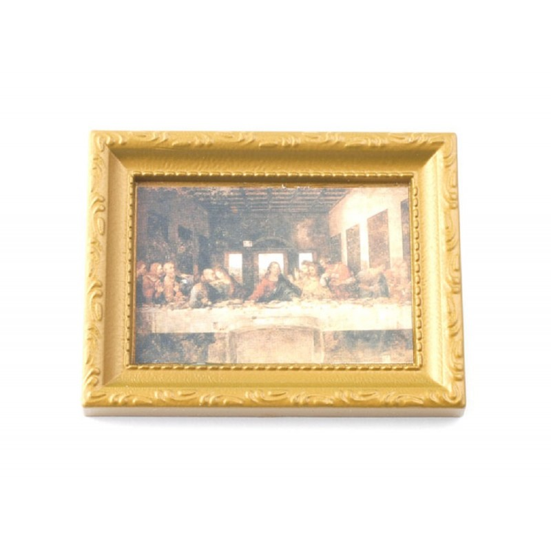 Dolls House Last Supper Picture in Gold Frame 1:12 Miniature Religious Accessory