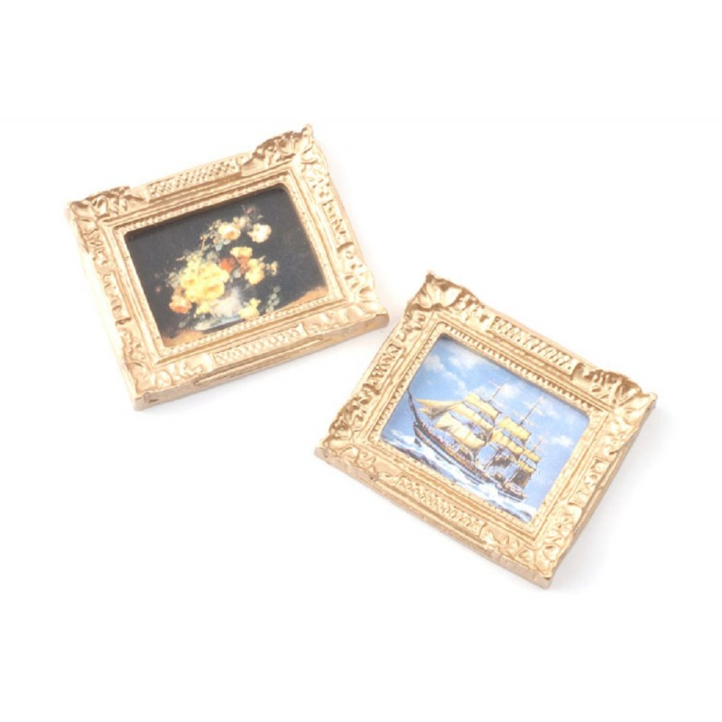 Dolls House 2 Pictures Paintings in Antique Gilt Gold Frames Miniature Accessory