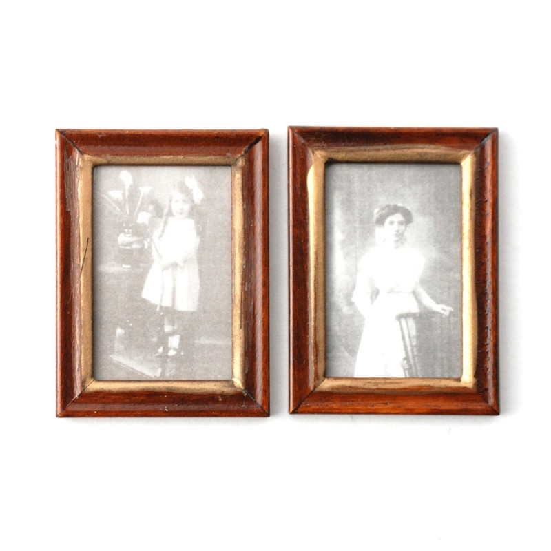 Dolls House 2 Victorian Pictures Paintings in Wooden Frames Miniature Accessory