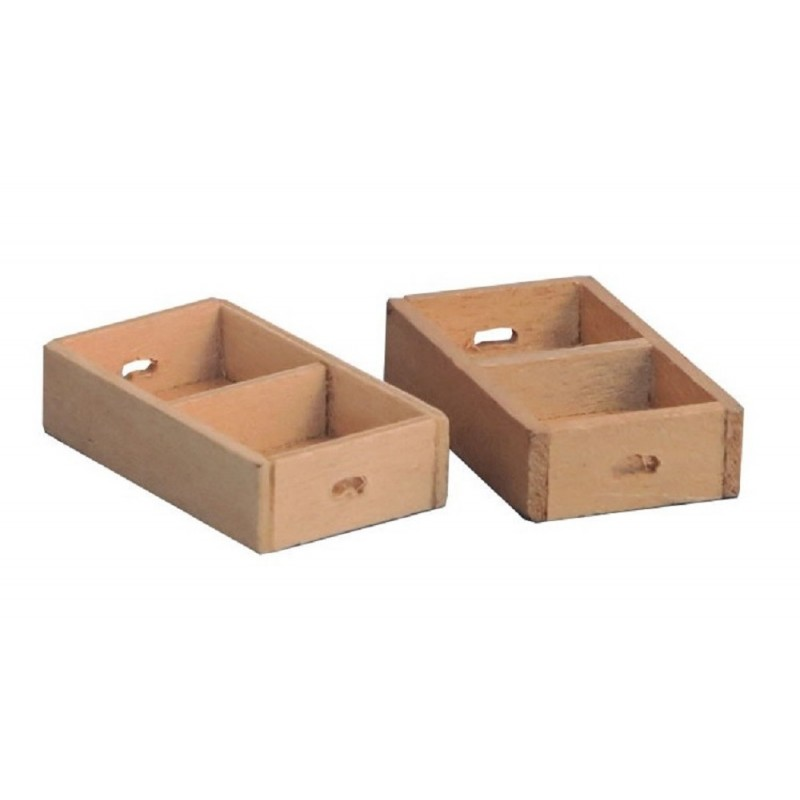 Dolls House 2 Fruit Veg Crates Divided Box Miniature Shop Store Market Accessory