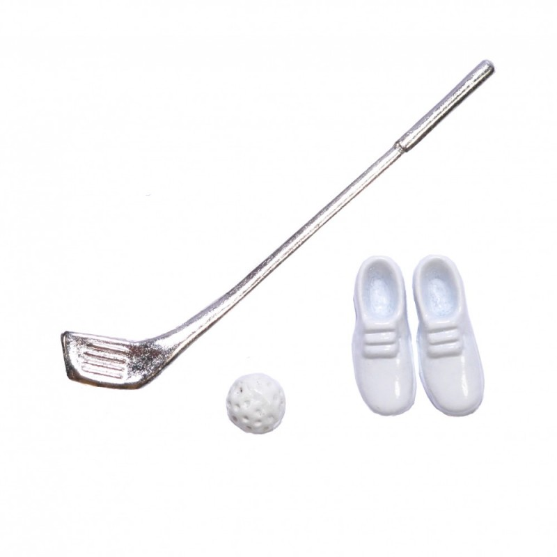 Dolls House Golf Club Ball & Shoes Miniature 1:12 Scale Game Set Accessory