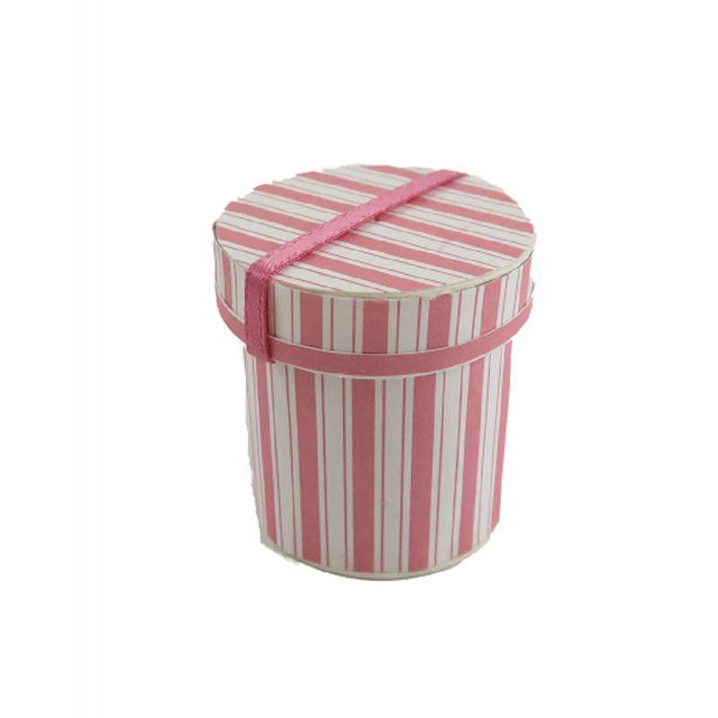 Dolls House Pink Striped Tall Hat Box Bedroom Milliner Shop Miniature Accessory