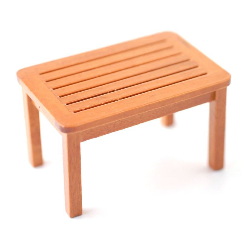 Dolls House Walnut Garden Coffee Table Miniature Wooden Patio Furniture 1:12