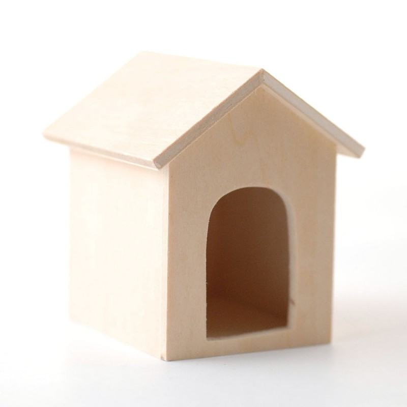 Dolls House Bare Wood Dog Kennel Miniature Unfinished Pet Garden Accessory 1:12